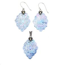 Bali Designs Mother-of-Pearl Pendant and Earrings Set