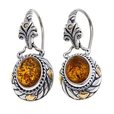 Bali Designs Oval Amber 2-Tone Drop Earrings