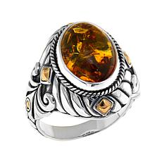 Bali Designs Oval Amber 2-Tone Ring