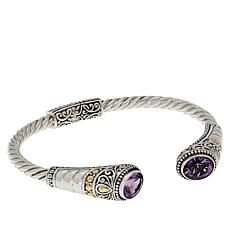 Bali Designs Oval Amethyst Cable Cuff Bracelet
