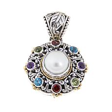 Bali Designs Pearl and Multigemstone Round Pendant