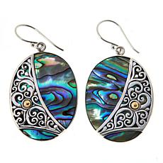 Bali Designs Sterling Silver Abalone Doublet Oval Drop Earrings