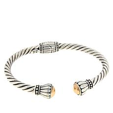 Bali Designs Sterling Silver and 18K Accent Domed Cable Cuff