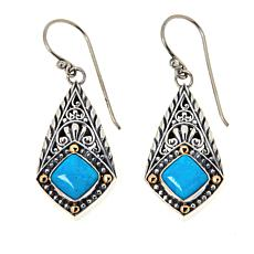 Bali Designs Sterling Silver and 18K Cushion Gemstone Drop Earrings