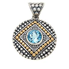 Bali Designs Sterling Silver and 18K Gem Popcorn Pattern Round Pendant