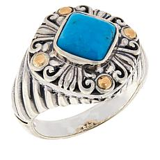 Bali Designs Sterling Silver and 18K Gem Scrollwork Ring