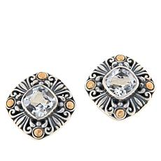 Bali Designs Sterling Silver and 18K Gem Scrollwork Stud Earrings