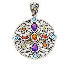 Bali Designs Sterling Silver and 18K Gemstone Medallion Pendant