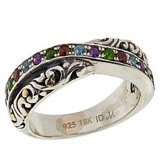 Bali Designs Sterling Silver & 18K Gold Multi-Gemstone Crossover Ring