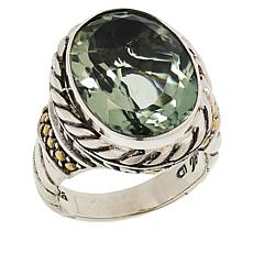 Bali Designs Sterling Silver and 18K Gold Oval Prasiolite Cable Ring