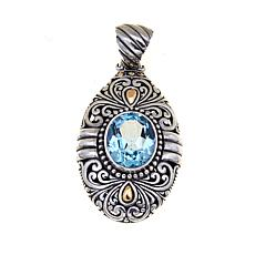 Bali Designs Sterling Silver and 18K Gold Oval Sky Blue Topaz Pendant
