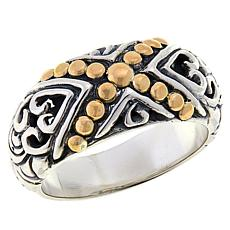 "Bali Designs Sterling Silver and 18K Gold ""X"" Band Ring"