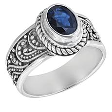 Bali Designs Sterling Silver and Sapphire Beaded Scrollwork Ring