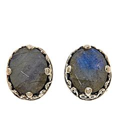 Bali Designs Sterling Silver Labradorite Scroll Stud Earrings