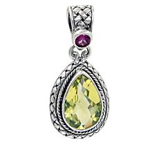 Bali Designs Sterling Silver Lemon Quartz and Rhodolite Pear Pendant