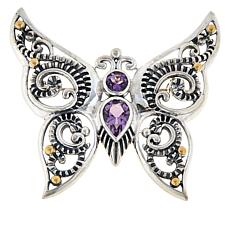 Bali Designs Sterling Silver Multi-Gem Butterfly Scroll Pendant