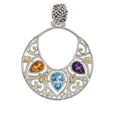 Bali Designs Sterling Silver Multi-Gem Hoop Dangle Scroll Pendant