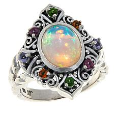 Bali Designs Sterling Silver Opal and Multi-Gemstone Ring