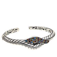 Bali Designs Sterling Silver Pavé Gemstone Rope Pattern Cuff