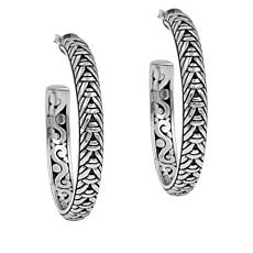 Bali Designs Sterling Silver Woven Hoop Earrings
