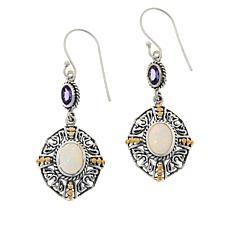 Bali Designs  Tanzanite and Opal Drop Earrings