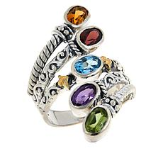 "Bali Designs ""Waterfall""  Sterling Silver and 18K Gem Multi-Row Ring"