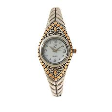 Bali Designs White Mother-of-Pearl Dial Cuff Bracelet Watch
