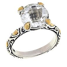 Bali Designs White Topaz Solitaire Sterling Silver and 18K Gold Ring