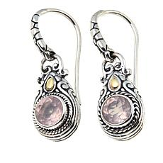 Bali RoManse 1.5ctw  Round Rose Quartz Drop Earrings