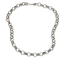 """Bali RoManse 18"""" Textured 18K Gold Accent Oval-Link Chain Necklace"""