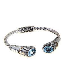 Bali RoManse 5.2ctw Oval Sky Blue Topaz Cuff Bracelet