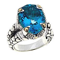Bali RoManse 7.4ct Paraiba-Color-Coated Quartz Cobblestone Ring