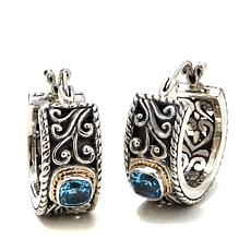 Bali RoManse Blue Topaz Small Scroll Hoop Earrings