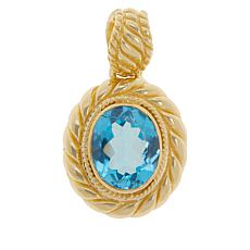 Bali RoManse Gold-Plated Swiss Blue Topaz Cable Pendant