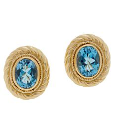 Bali RoManse Gold-Plated Swiss Blue Topaz Cable Stud Earrings