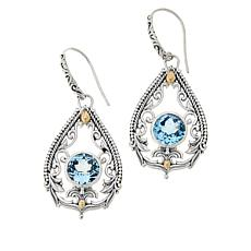 Bali RoManse Sky Blue Topaz Vine Scrollwork Drop Earrings