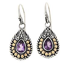 Bali RoManse Sterling Silver and 18K Amethyst Drop Earrings