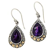 Bali RoManse Sterling Silver and 18K Amethyst Scrollwork Drop Earrings