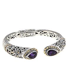 Bali RoManse Sterling Silver and 18K Amethyst Scrollwork Hinged Cuff