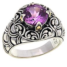 Bali RoManse Sterling Silver and 18K Created Sapphire Ring