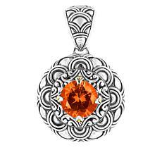 Bali RoManse Sterling Silver and 18K Created Sapphire Scallop Pendant