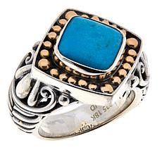Bali RoManse Sterling Silver and 18K Cushion Gemstone Solitaire Ring
