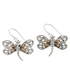 Bali RoManse Sterling Silver and 18K Dragonfly Drop Earrings