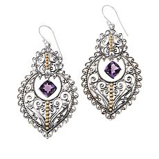 Bali RoManse Sterling Silver and 18K Gem Dangle Filigree Drop Earrings