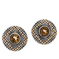 Bali RoManse Sterling Silver and 18K Gem Popcorn Pattern Stud Earrings