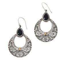 Bali RoManse Sterling Silver and 18K Gem Scrollwork Drop Earrings