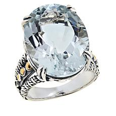 Bali RoManse Sterling Silver and 18K Gemstone Solitaire Ring