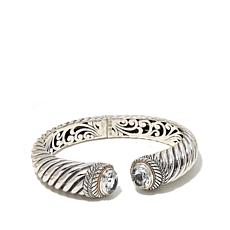 Bali RoManse Sterling Silver and 18K Gold White Topaz Cable Cuff