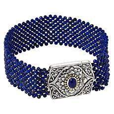 Bali RoManse Sterling Silver and 18K Lapis Woven Bracelet