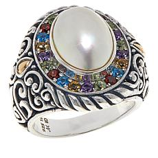Bali RoManse Sterling Silver and 18K Mabé Pearl & Multi-Gemstone Ring